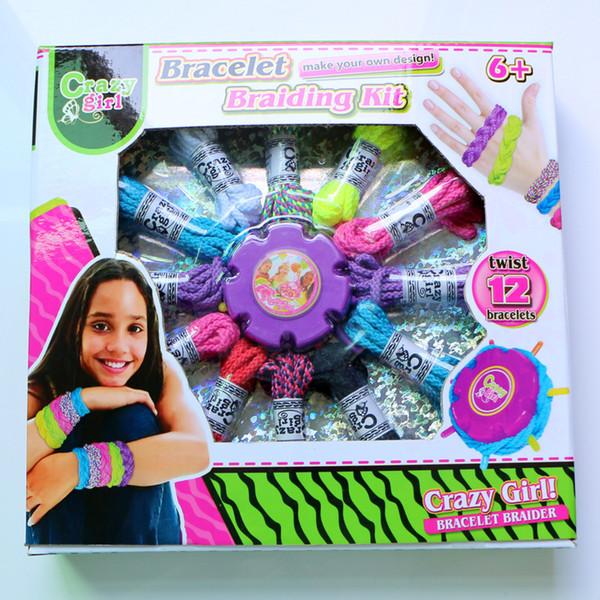Сделать свой собственный дизайн браслета плетение комплект DIY закрутки 12 браслеты игрушки Радуга ткацкий станок веревка игрушка дети девочка подарок