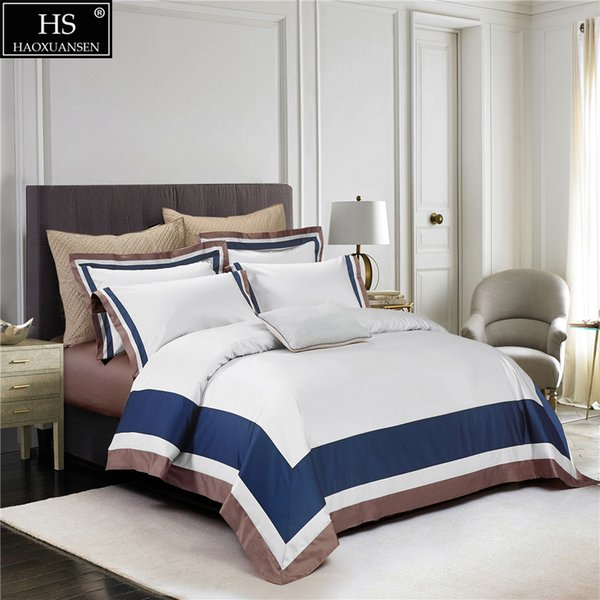 100S Egyptian Cotton White Sapphire Blue Light Brown Luxury Bedding Set 4Pcs King Queen Bed Sheet Set Duvet cover Pillow shams