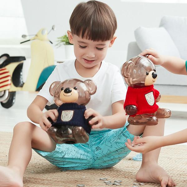 Bear Piggy Bank Plastic Kids Deposit Box Coin Transparent Money Box Bank Safe Cash Saving Gift Vintage Present for Boy Girl MYXX C18122201