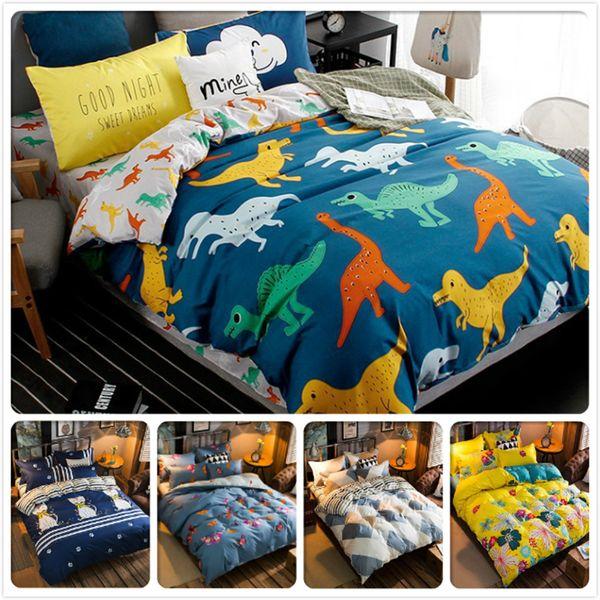 Dinozor Renkler Baskı Nevresim Tam Kral Kraliçe Çift Boyutu 1.5 m 1.8 m 2.0 m 2.2 m Çarşaf Yastık Yatak Set Çocuk Nevresim ...