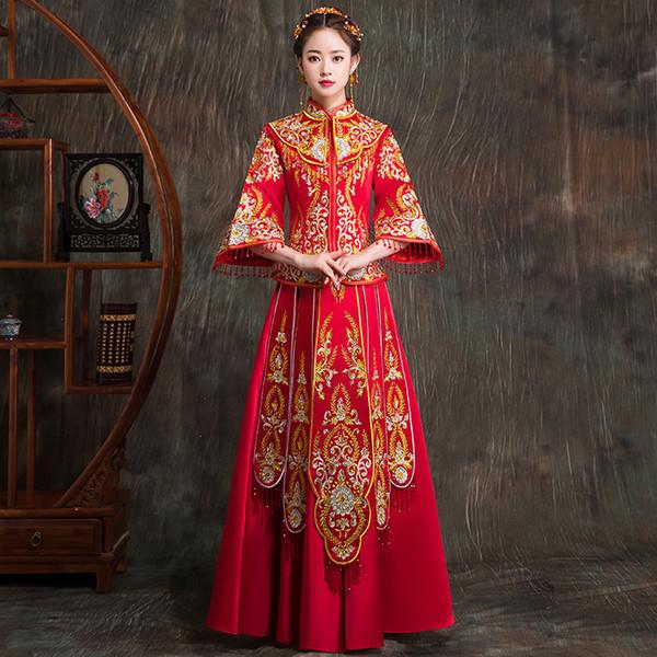 Ancien Royal femmes Qipao Haute Qualité Broderie Cheongsam Costume Rouge Mariée Toast Vêtements Vintage Performance Vêtements