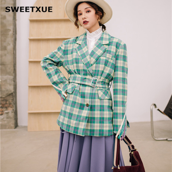 SWEETXUE Frühling Frauen Grün Plaid Office Blazer Fashion Belted Split Sleeve Jacken Elegante Oberbekleidung Frauen Herbst Workwear Coat