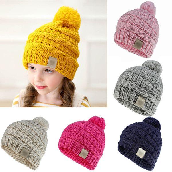 Enfants Beanie Caps Couleur Unie Enfants Tricotant Crochet Pompon Chapeau Mode Hiver Chaud Cap Accessoires M218