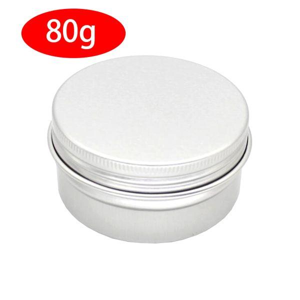 Les pots de crème d'aluminium 50PCS avec couvercle à vis, bocal en cas cosmétique, boîtes de conserve en aluminium de 80 ml, la lèvre d'aluminium contenant de baume