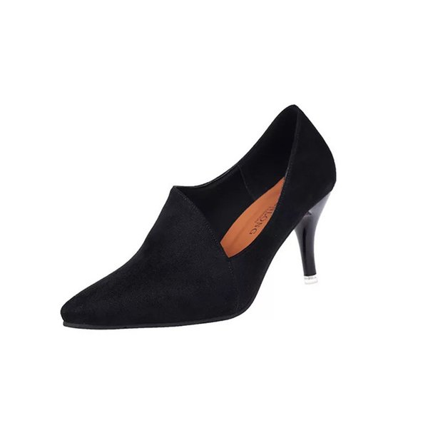 Dress Shoes Zhenzhou 2019 New Design Dignified Black Bevel Pointed Women's High-heeled Leather Suede 8cm Work Pumps For Choose