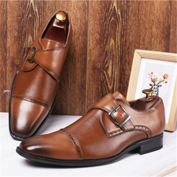 2019 Newest Men Dress Shoes Designer Business Office Buckle Strap Loafers Casual Driving Shoes Men's Flat Party Leather Shoes