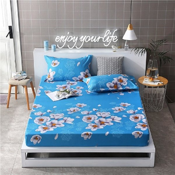 Polyester Printed Solid Fitted Sheet Mattress Cover Four Corners With Elastic Band Bed Sheet
