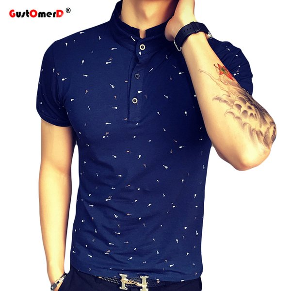 2017 Summer Guitar Printed Stand Collar Polo Shirt Men Short Sleeve Casual Men Shirts Slim Fit Polo Homme Cotton Mens Polos Q190428