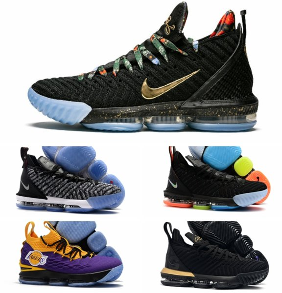 newlebron 16 Watch The Throne Men Shoes Black Metallic Gold-Rose Frost James 16 KC Gold Lacelocks Mens Trainer