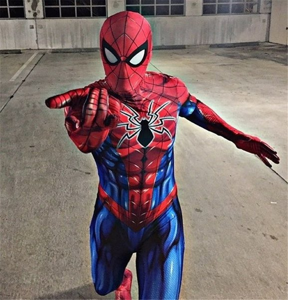 New Spiderman Costume 3D Printed Adult Lycra Spandex Spider-man Costume For Halloween Mascot Cosplay Zentai suitMX190921MX190921