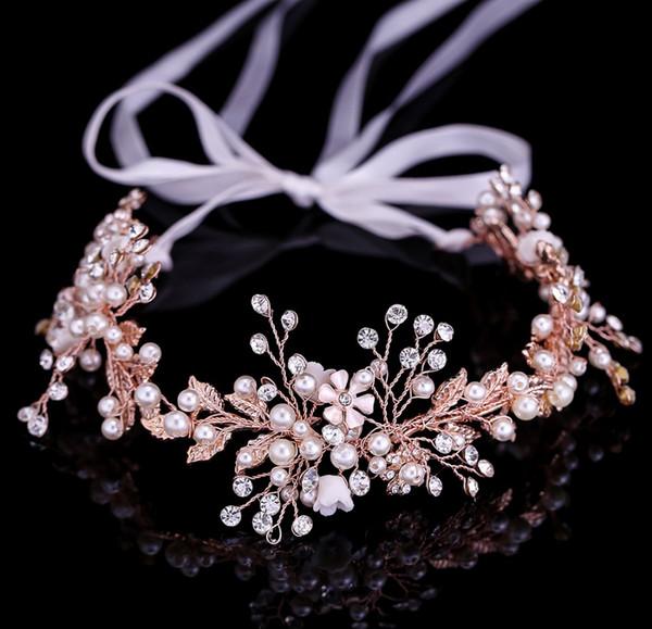Or Rose Feuille Bandeau baroque nuptiale Bandeaux Coiffe Coiffe Accessoires cheveux mariée mariage Couronne Tiara Bijoux peigne