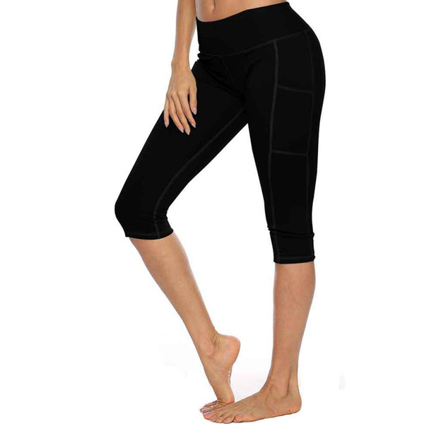 Women Skinny Running Sports Calf-length Side Pocket Leggings Compression Peach Hip Tight Slim Fitness Strechy Solid Pure Color