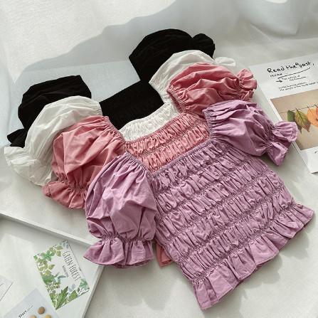 best selling Fashion new girls puff sleeve shirt 2020 new kids elastic falbala short sleeve blouse Palace style children cotton princess tops A2638