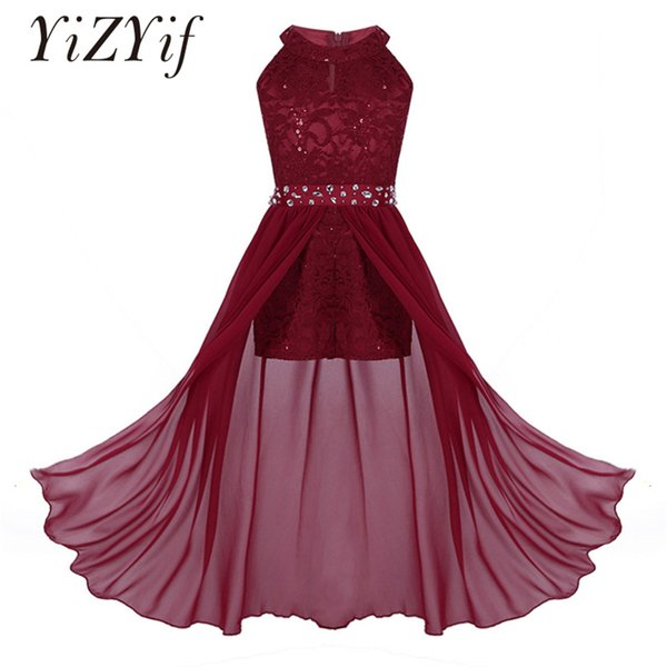 YiZYiF Girls Romper Dress Sleeveless Floral Lace Rhinestone High Neck Maxi Romper Dress for Pageant School Dance Birthday Party