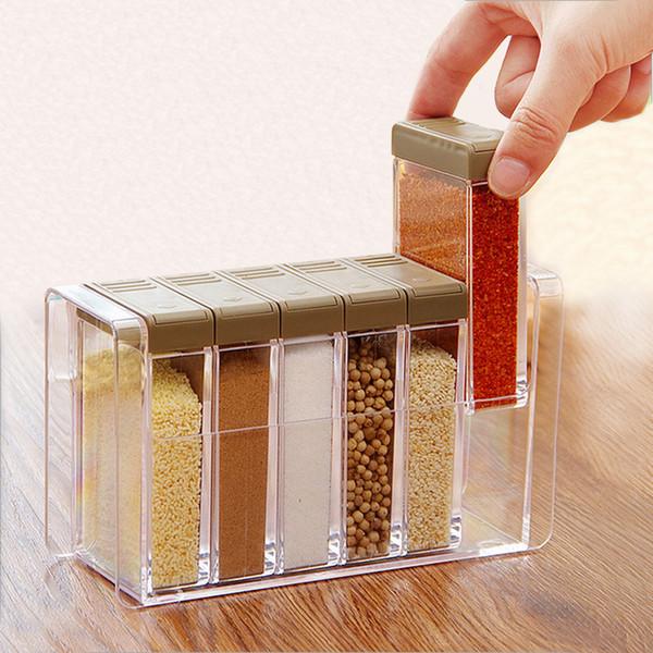 Acrylic Transparent Spice Jar Colorful Lid Seasoning 6pcs/set Kitchen Tools Salt Condiment Cruet Storage Box Containers SH190628
