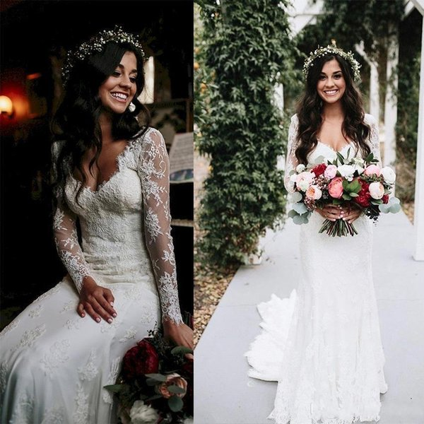 2019 Elegant Long Sleevs Mermaid Country Bohemian Wedding Dresses Cheap Vintgae Lace Appliqued Beach Boho Bridal Gown