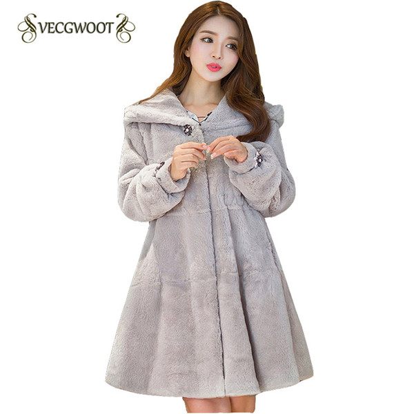 Women Fur Jacket Winter 2018 New Long sleeve Solid color Hooded Slim Fashion Women Fur Coat Elegant High quality Sweet WLX105