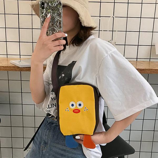 Mulheres Dos Desenhos Animados Saco de Forma Divertida Material Da Lona Saco Do Mensageiro Moda Bonito Costura Meninas Escola
