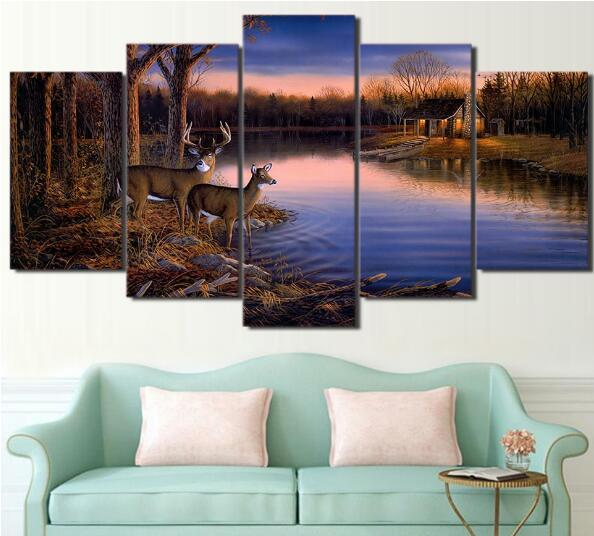 Canvas Painting Vintage Wall Art NO Frame Printed Pictures 5 Panel Poster Two deer drinking water Tree Landscape Photo For Living Room Decor