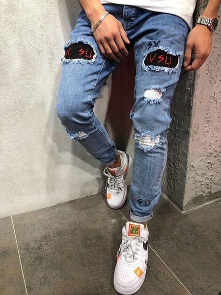 Taille S-3XL New 2020 Jeans Biker Distressed Ripped hommes Slim Fit Motard Denim pour les hommes Fashion Designer Hip Hop Jeans Hommes