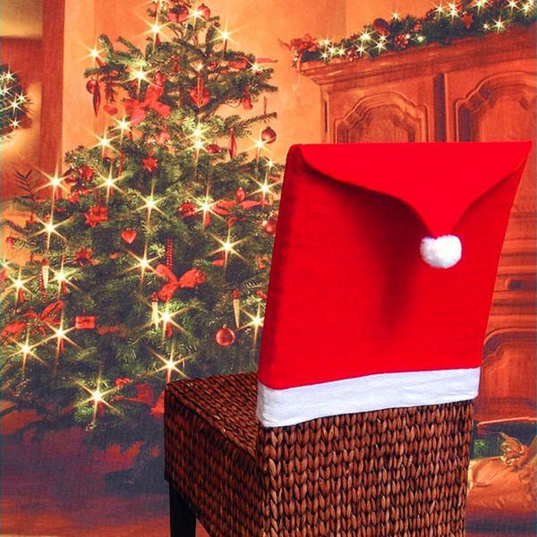 Sıcak Satış Toptan Noel Şapka Sandalye Kapak Yumuşak Masa Dekorasyon Sıcak Bez ile Moda Kırmızı Noel Sandalye Dekor