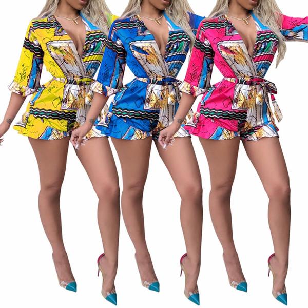 Ladies Fashion Sexy Jumpsuit 2019 Summer Loose Print Rompers Tuta da donna Elegante Body Plus Size S-2XL
