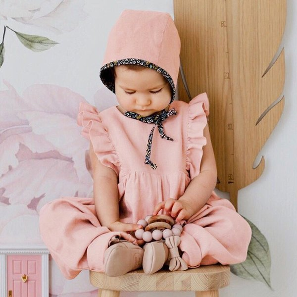 INS Baby Girls Rompers Bib Pants Children Girls Clothing Outfit One Piece Bodysuits Jumpsuits Toddler Sleeveless Belt Baby Girls Overalls