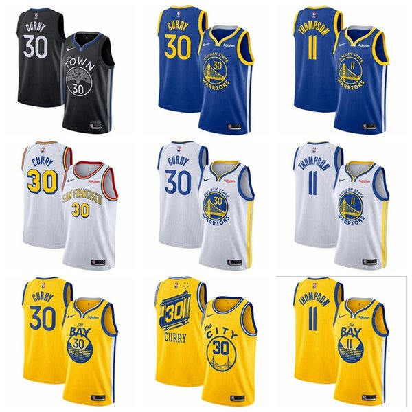 Acquista Uomini 11 Thompson Stephen Curry Dorato Nero Stato