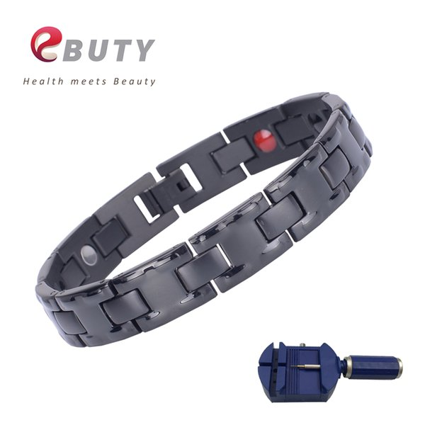 EBUTY Men Sport Wristband Titanium Energy Bracelet Magnet FIR IONS Therapy Health Fashion Jewelry with Gift Box