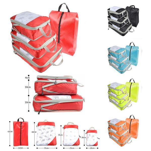 5styles 4pcs / lot Reiseveranstalterbeutel-Seesack im Freien beweglicher Spielraum beiläufiger Kleidung fester Kleinigkeitenspeicherbeutel FFA2596