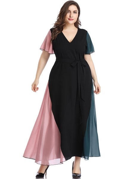 2019 Summer New Women's Dresses Splice Contrast Color V-neck Long Casual Dress Plus Size Ladies Chiffon Dress 2 Colors from XL to 5XL