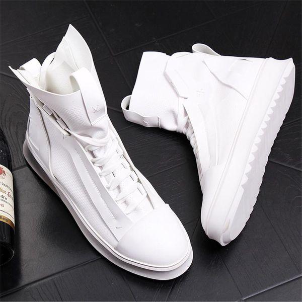 Atmungsaktive Sommerstiefel Herren High Top Casual Trend Freizeitschuhe Hip Hop Zapatos Weiß 20D50