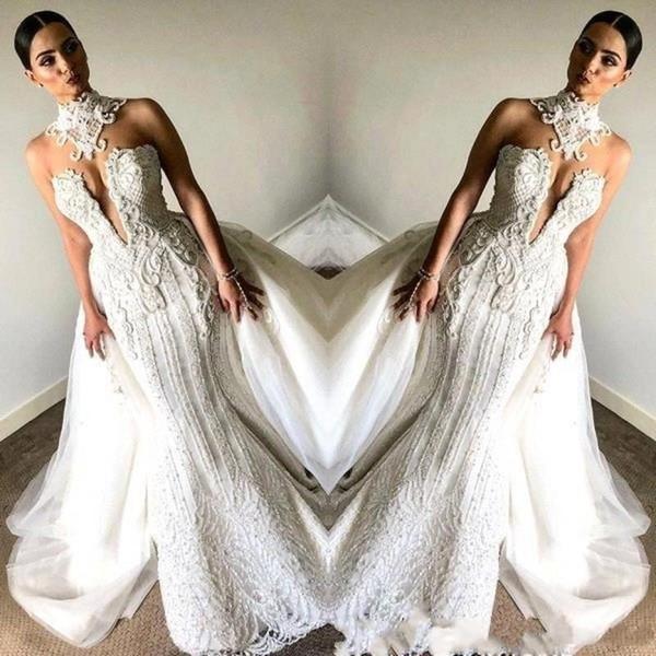 멋진 전체 레이스 민소매 인어 웨딩 드레스 스커트 2020 높은 목 파란색 플러스 사이즈 빈티지 신부 웨딩 드레스 BC0672