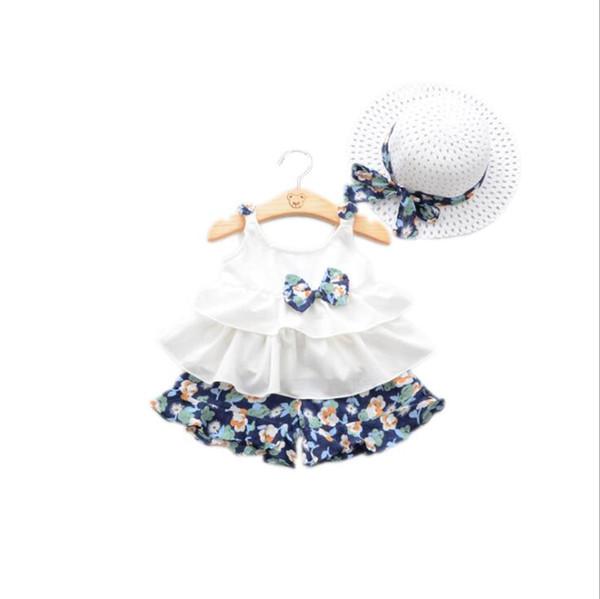 3pcs/lot Children suits summer new fashion print girls vest +short pants+hat children's clothing summer set boutique