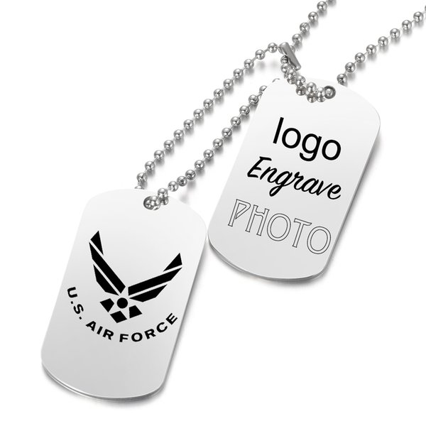 Stainless Steel Custom Laser Engraved Army ID Pendant Personalized Name Photo Necklace Jewelry Gifts For Mens SL-108