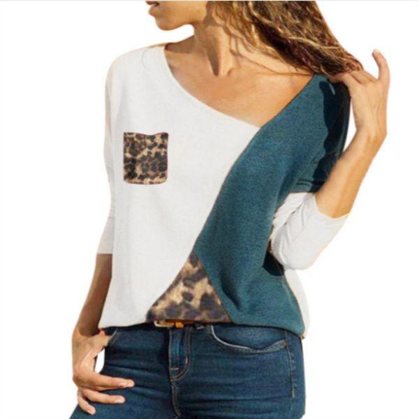 Spot 2019 nueva venta caliente costura color contraste cuello redondo manga larga casual camiseta mujer camisa 30pcs