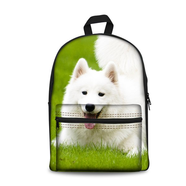 Mochila Schoolboy Childrens 3D School Bags Boys Girl Samoyed Dog Animal Travel Mochila Season 4 Women Custom