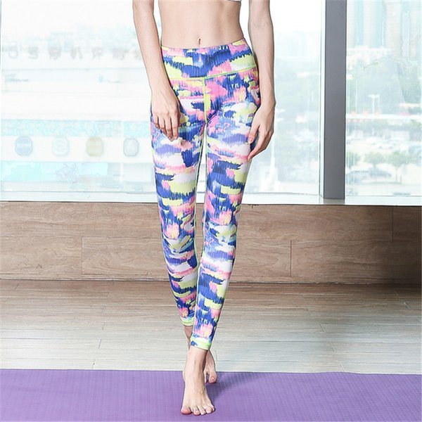 Womens Slim Yoga Pants Printed High Waisted Workout Leggings Sports Fitness Gym Dance Skinny Pants Quick Dry Tights Running Jogging Trousers