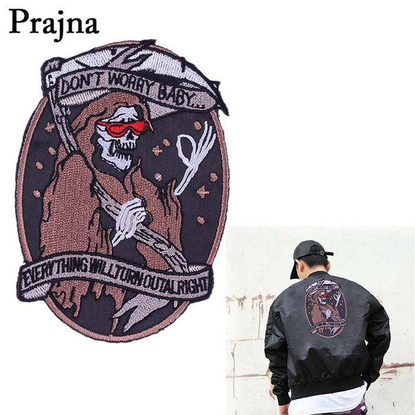 Prajna Grim Reaper Punisher Large Embroidered Punk Patch Iron On Patches For Motorcycle Clothes Biker Jacket Back Stickers E