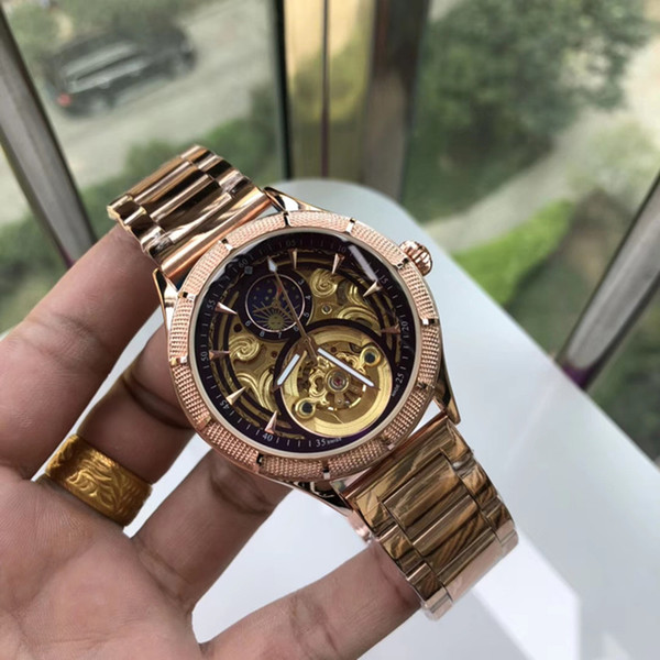 AAA large flywheel machinery luxury fashion automatic mechanical movement mineral crystal mirror 316 steel watchband men's watch