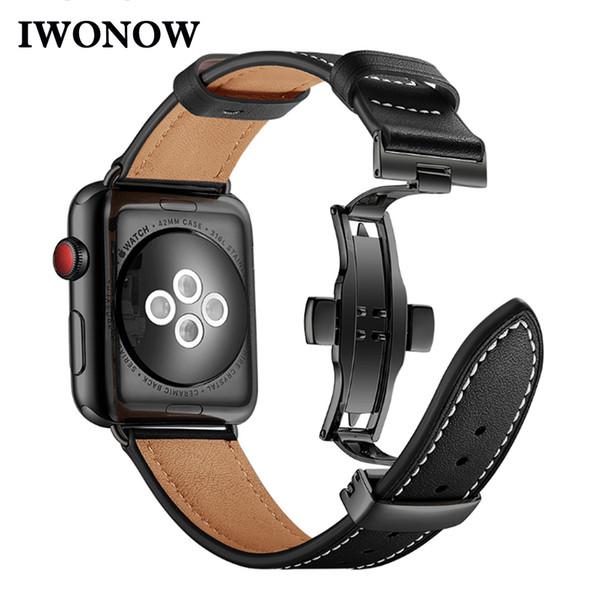 Italien echtes leder armband für iwatch apple watch 38mm 40mm 42mm 44mm serie 4/3/2/1 band butterfly verschluss strap handgelenk gürtel j190702