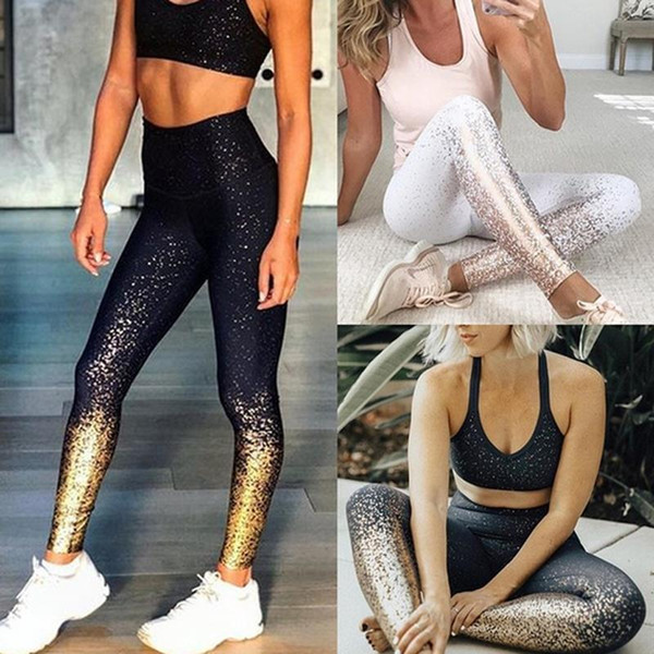Las mujeres dorado yoga fitness polainas metálico deportes ocasionales medias de la alta cintura Ejecución de gimnasia deportiva delgados pantalones capris LJJA2313
