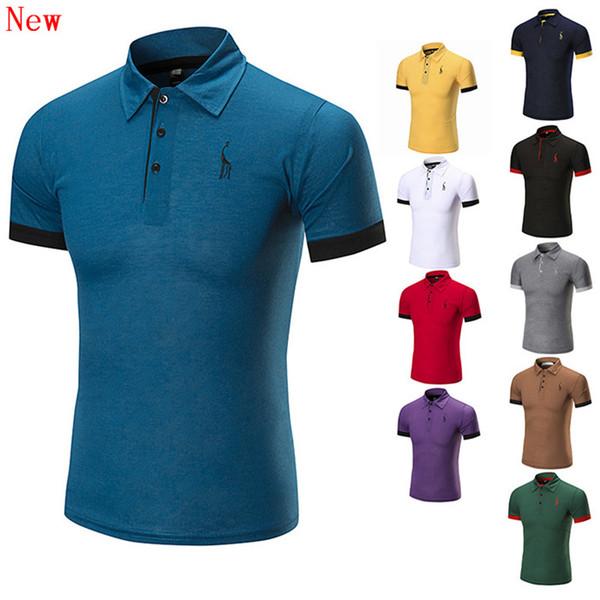 Frete grátis nova alta qualidade dos homens bordado camisa polo para homens polos designer de algodão camisa de manga curta marcas wn6