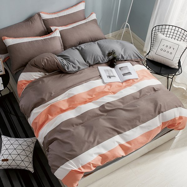 Geometric Striped Cartoon Comforter Bedding Sets 3/4 pcs Polyester Bed Linings Duvet Cover Bed Sheet Pillowcases Cover Set