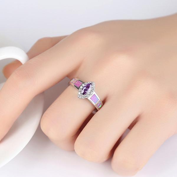 Zircon de luxe pourpre opale cheval œil alliances pour femmes couleur argent brillant cristal Gilrs Lady bijoux de fête de fiançailles anneau