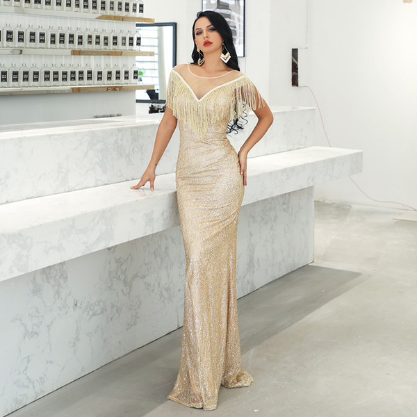 2019 Sexy deep V-lead Suu Nu gauze evening dress elegant dress 19008