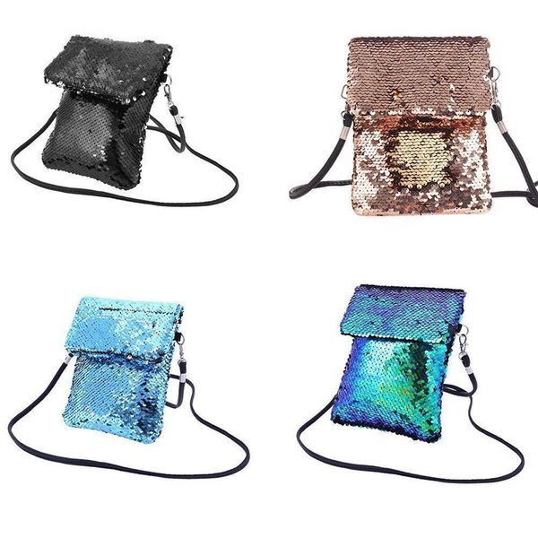Girls Double-sided Sequins Bags Colorful Mini Square Shoulder Messenger Mobile Phone Storage Bag For Women Girl Tote Pouch Purse