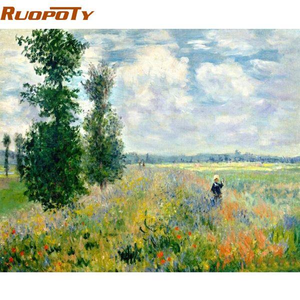 Caligrafía RUOPOTY Marco Imagen Campo Paisaje Pintura de DIY por números Pintado a mano Pintura al óleo Moderno Arte de pared Imagen para ...