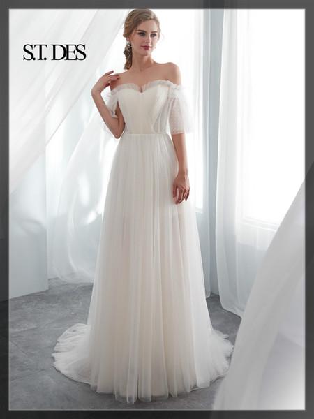 ! NUOVO 2020 abito da sposa per la donna S.T.DES epoca pieghe di Tulle Pizzo Bateau Cappa Backless Sweatheat una linea di pavimento lunghezza per la donna