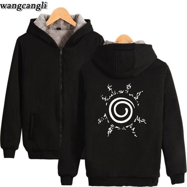 Uzumaki Naruto Super Warm Hoodies Sweatshirts Winter Thicken Fleece Men's Jackets Casual Zipper Hoody Men Coats Tops Clothes
